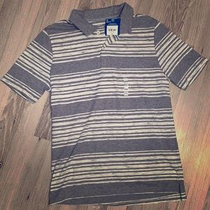 Grey striped polo